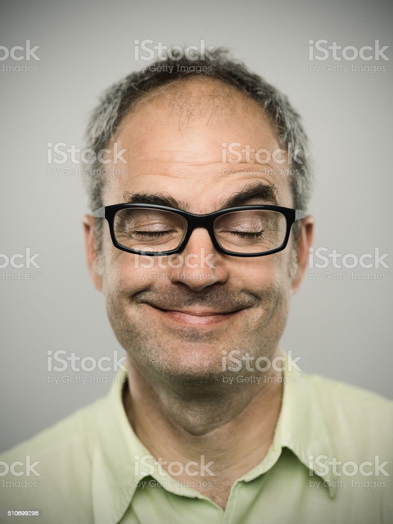 Portrait of a funny caucasian real man stock photo
