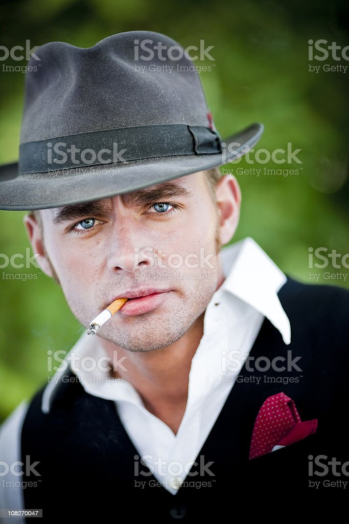 Portrait of a gangster. stock photo