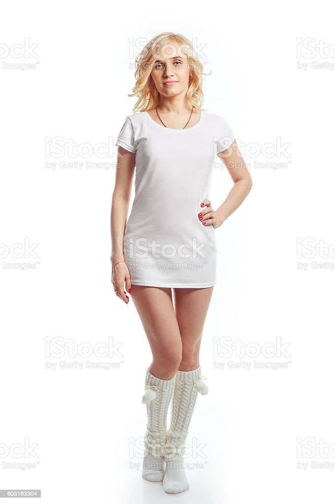 portrait of a girl blonde on a white background stock photo