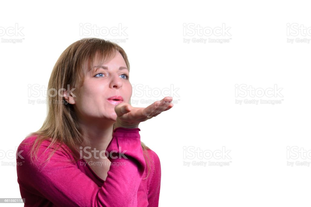 Portrait of a girl blowing an air stock photo