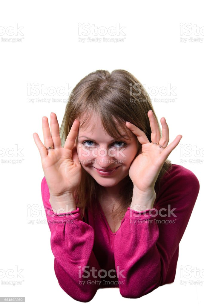 Portrait of a girl emotion cheerful. Prying. stock photo