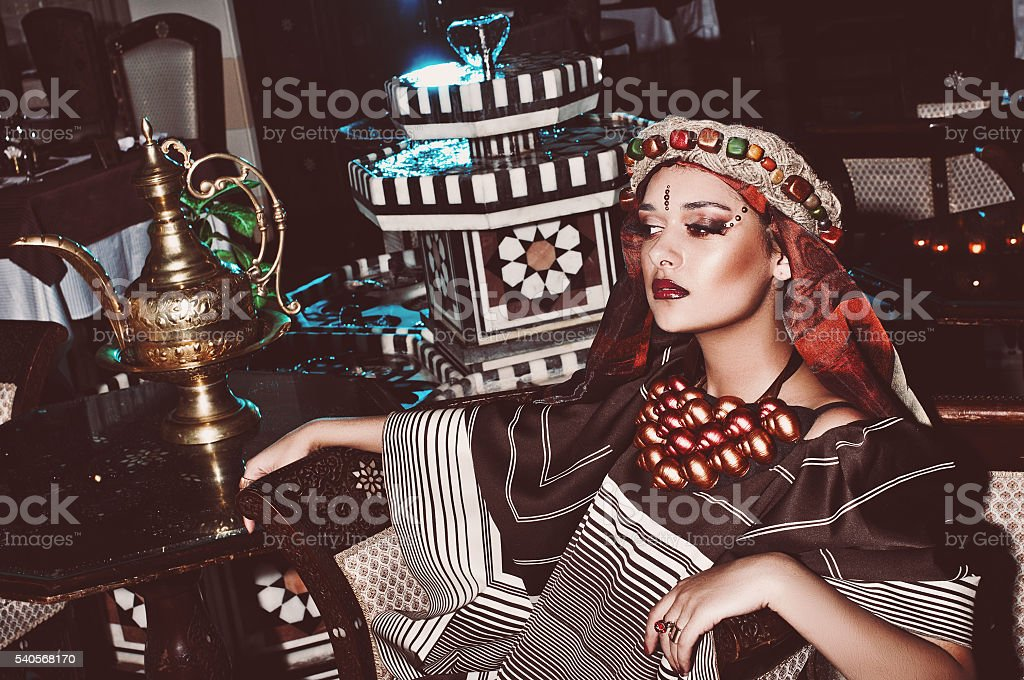 portrait of a girl in oriental style stock photo