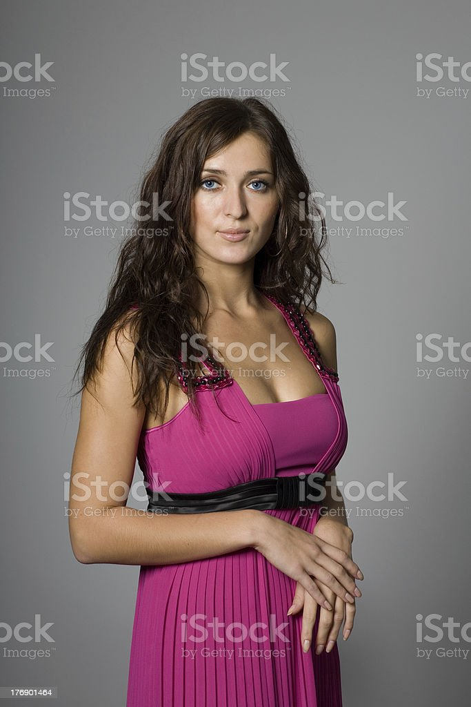 Portrait of a girl in pink royalty-free stock photo