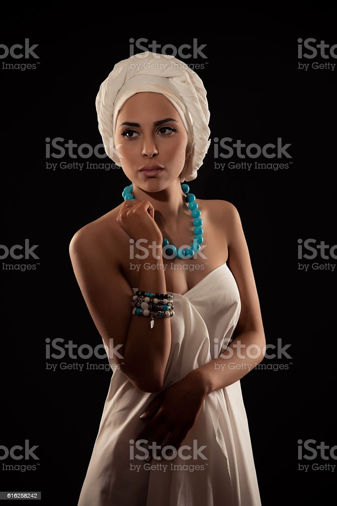 portrait of a girl in the African style stock photo