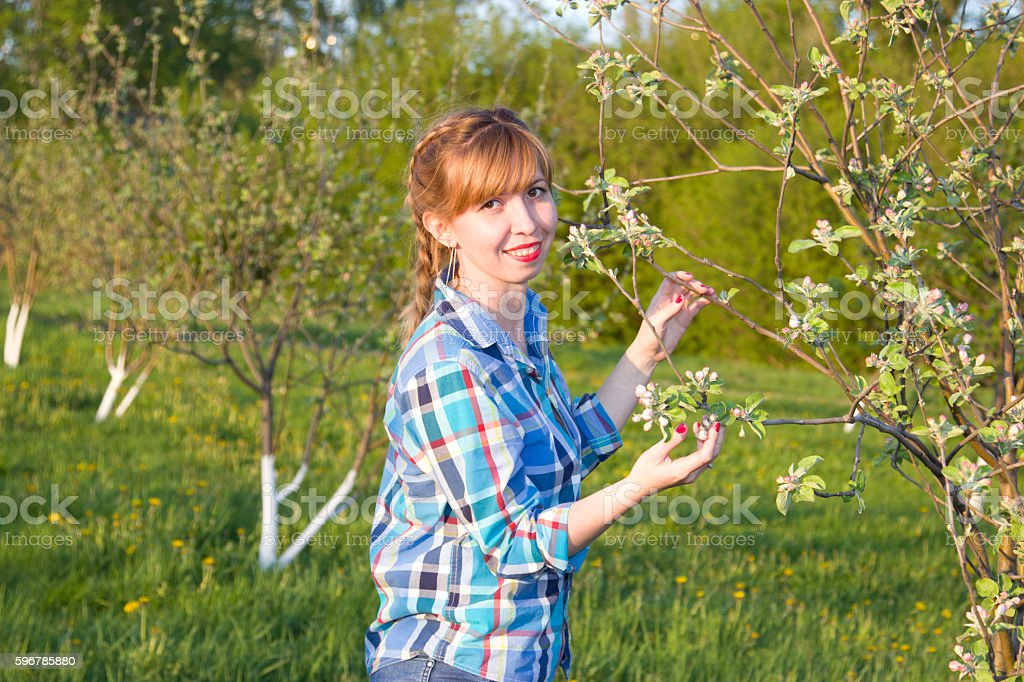Portrait of a girl in the spring stock photo