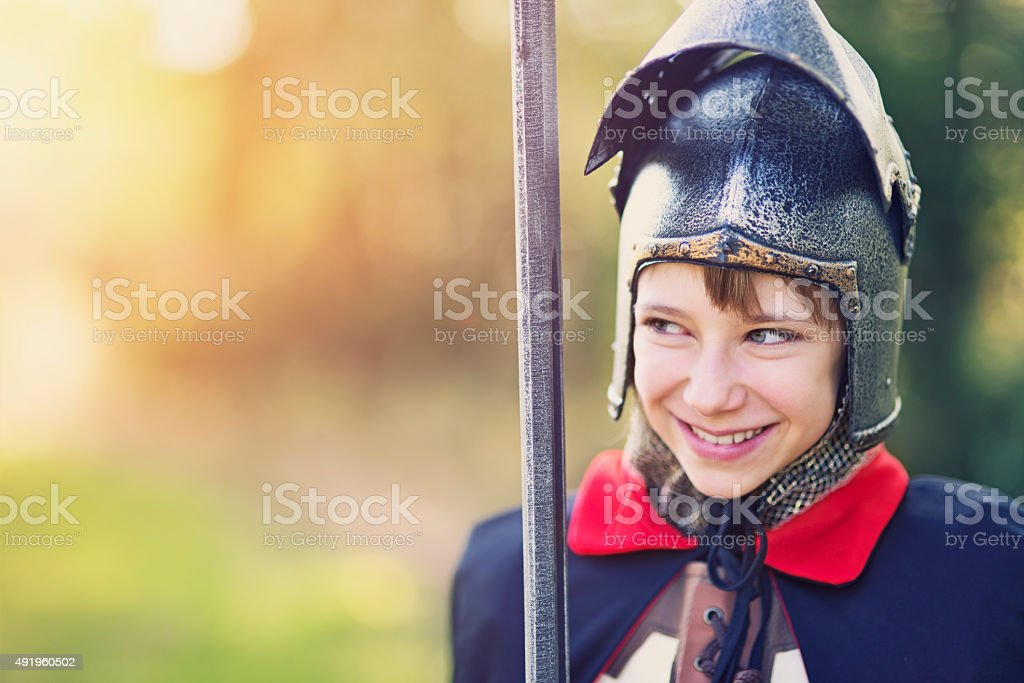 Portrait of a girl knight stock photo