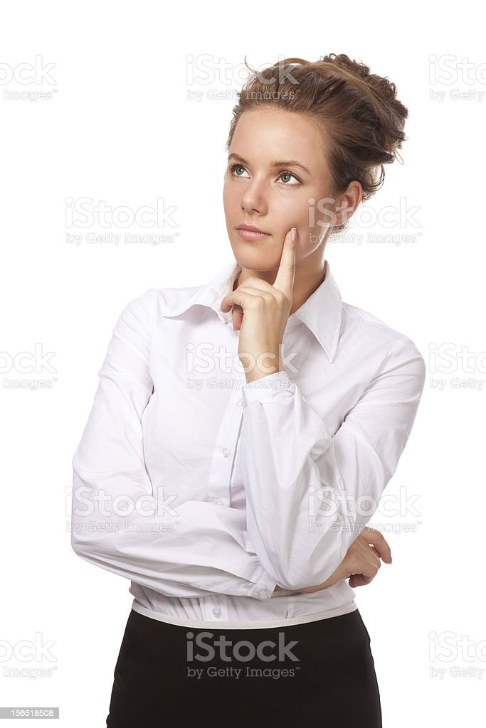 Portrait of a girl lost in thought about something royalty-free stock photo