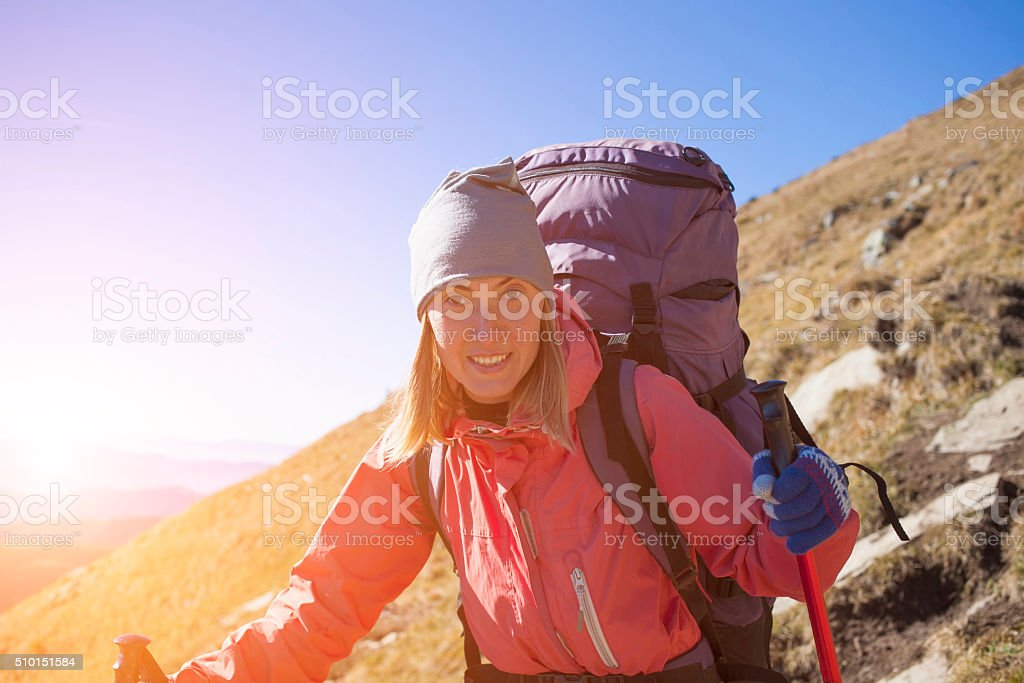 Portrait of a girl with a backpack. stock photo
