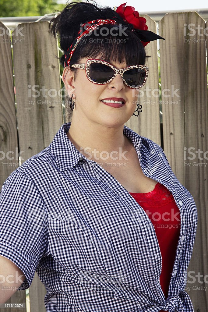Portrait of a Glamorous Rockabilly Woman stock photo