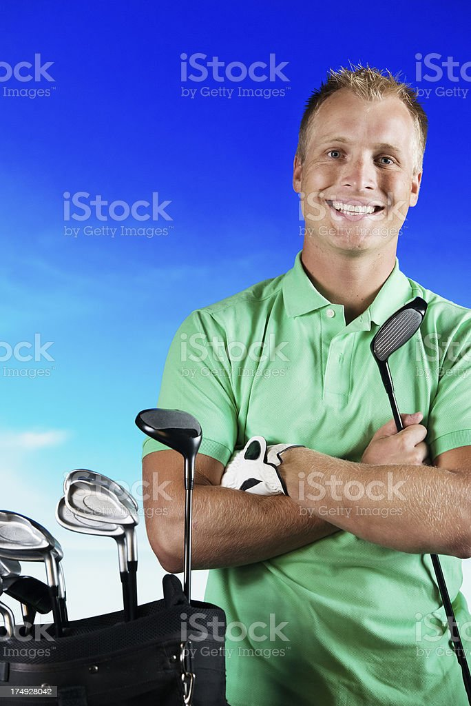 Portrait of a golfer smiling royalty-free stock photo