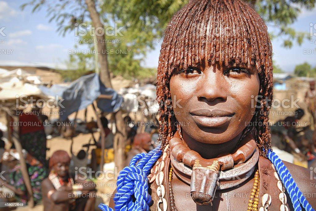 Portrait of a Hamar at Turmi market, Omo Valley, Ethiopia stock photo