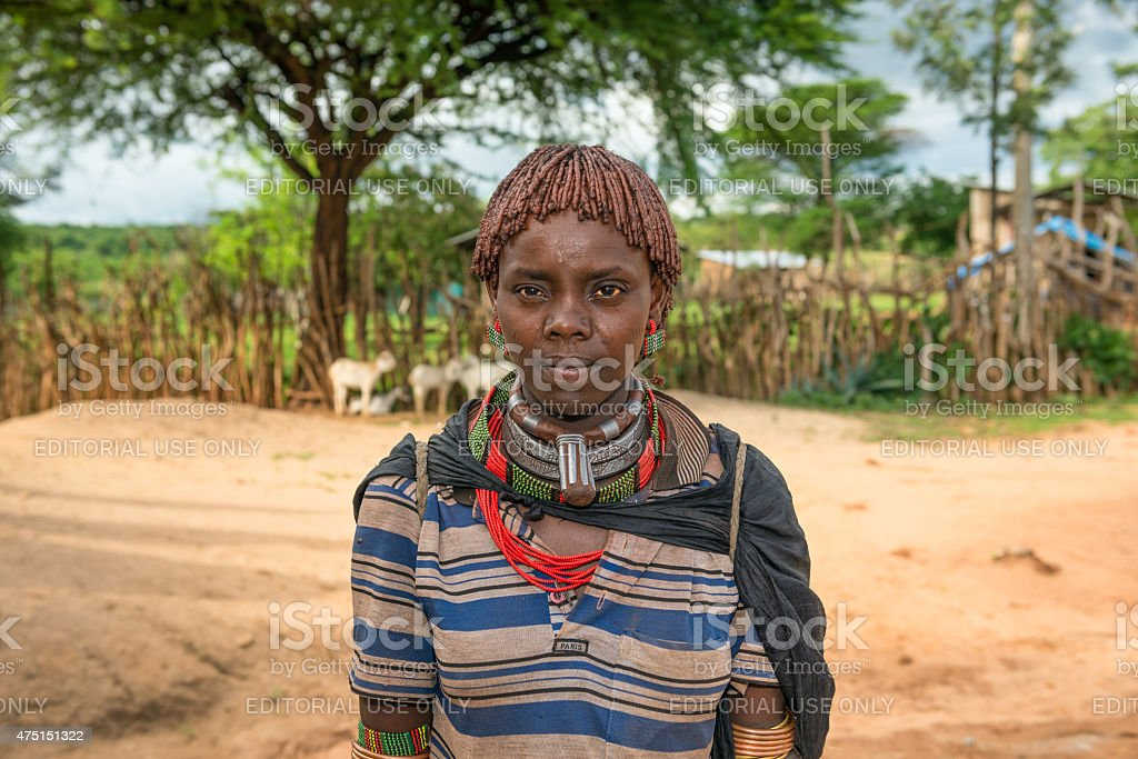 Portrait of a hamar woman in south Ethiopia stock photo