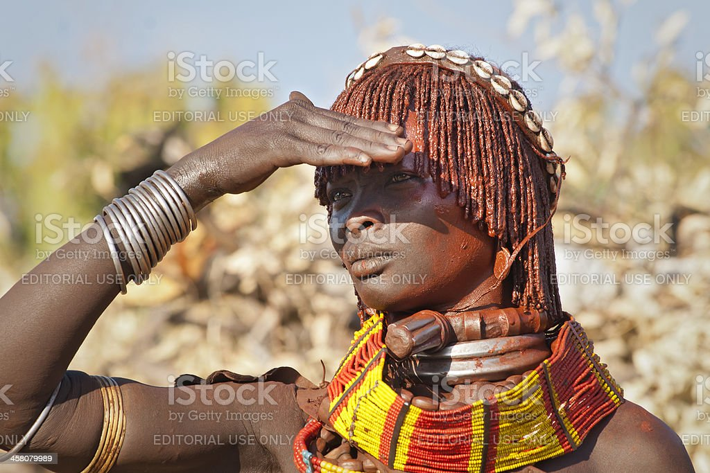 Portrait of a Hamar women, Lower Omo Valley, Ethiopia royalty-free stock photo