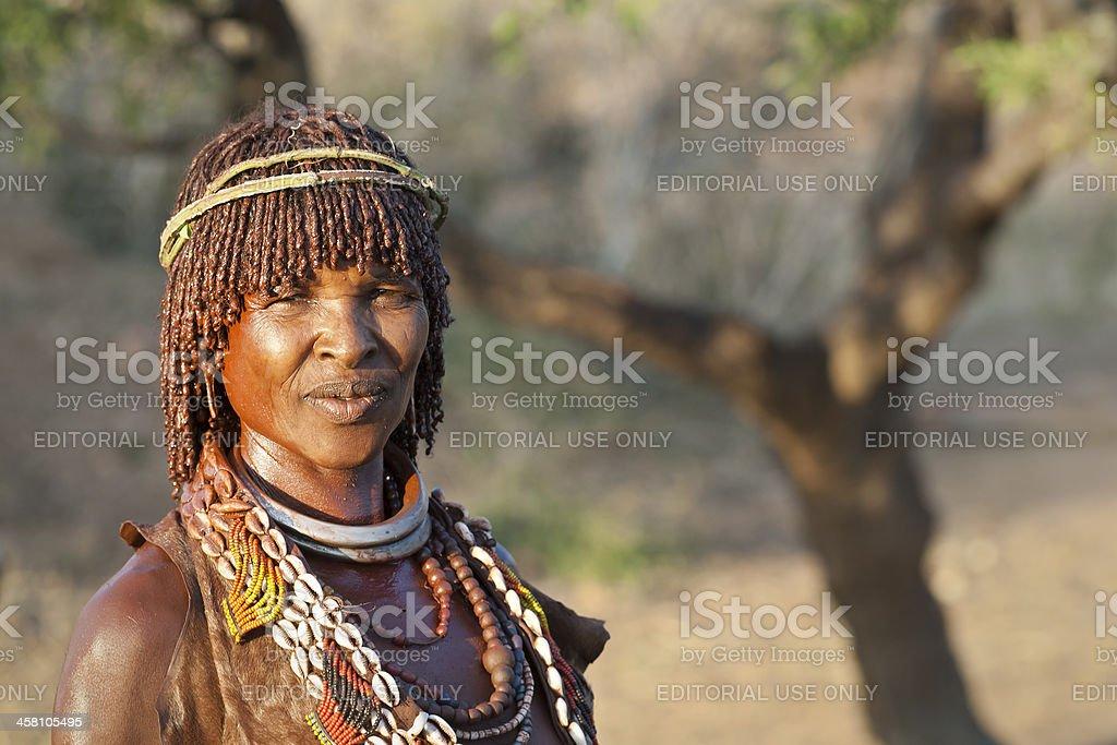 Portrait of a Hamar women, Lower Omo Valley, Ethiopia stock photo