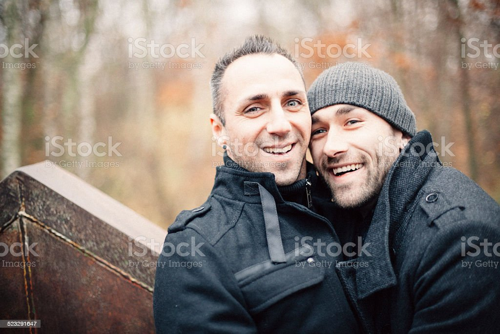 Portrait of a handsome homosexual couple stock photo