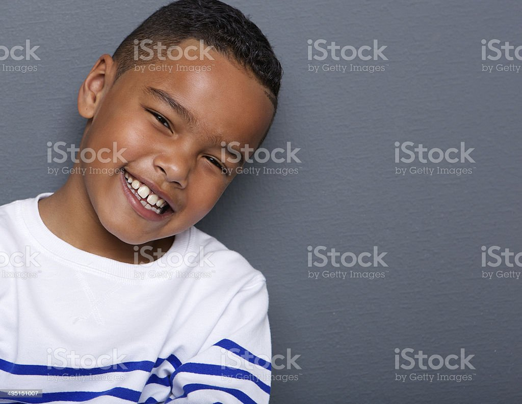 Portrait of a handsome little boy smiling stock photo