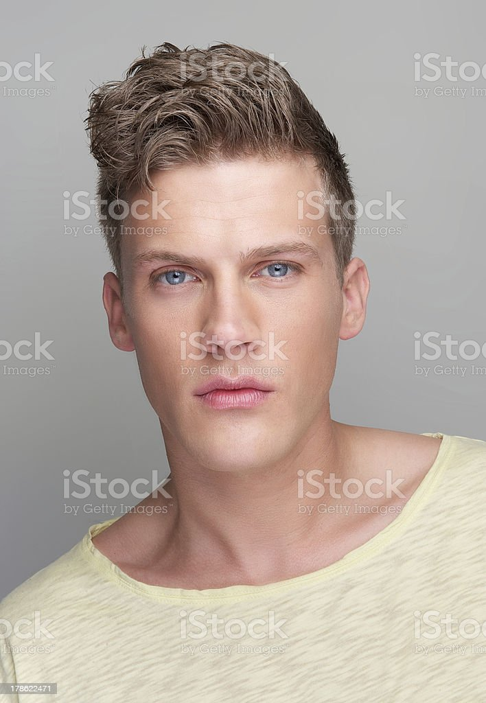 Portrait of a Handsome Man on Gray Background royalty-free stock photo