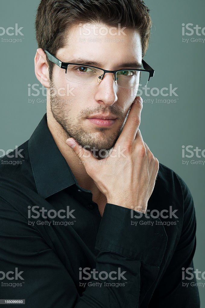 portrait of a handsome man wearing glasses royalty-free stock photo