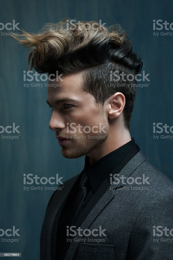 Portrait of a Handsome Man with Perfect Hair stock photo