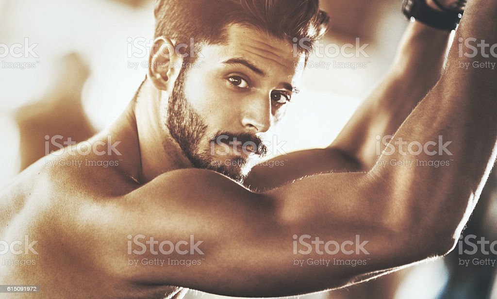 Portrait of a handsome muscular man. stock photo