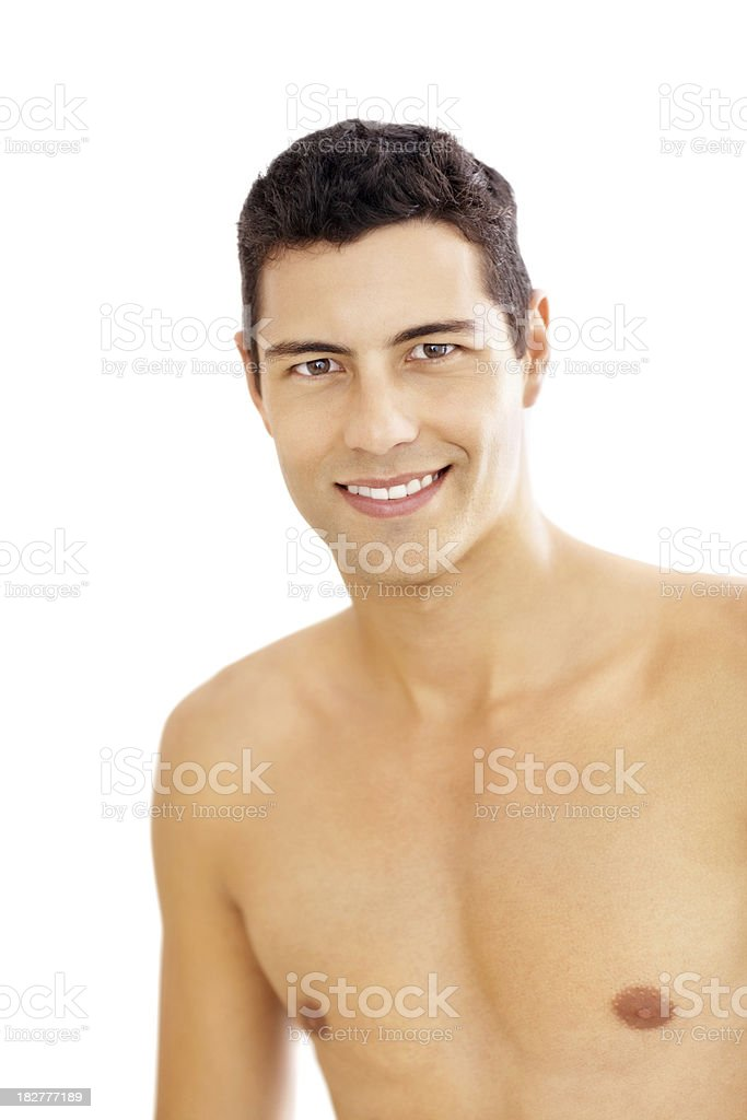 Portrait of a handsome naked young man isolated on white royalty-free stock photo