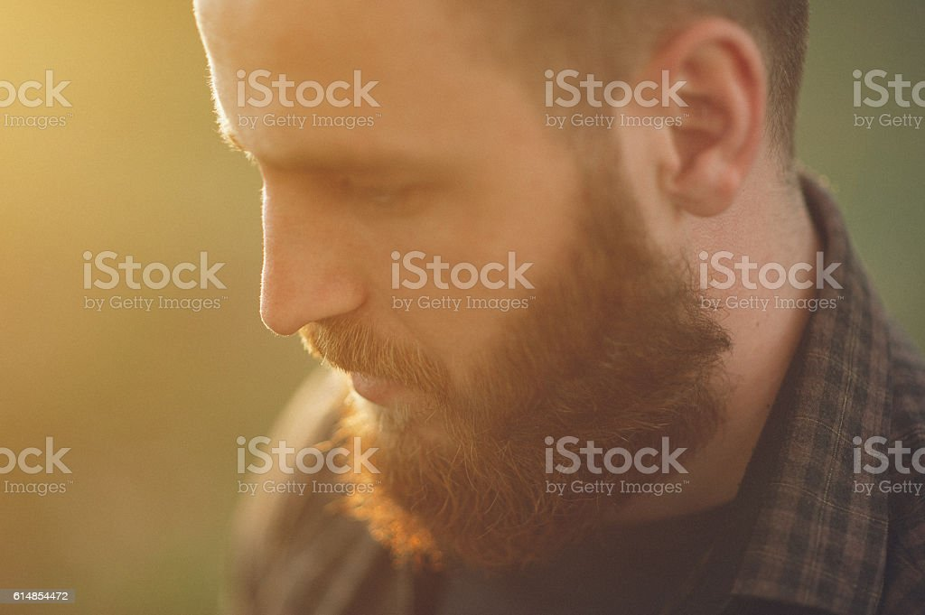 portrait of a handsome young man with a beard stock photo