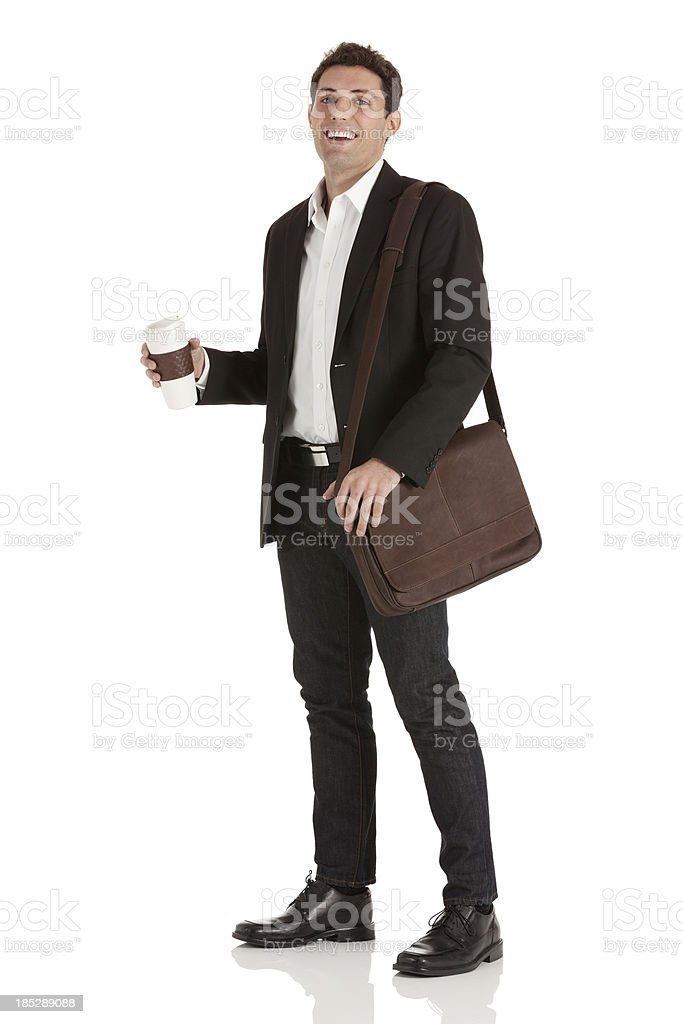 Portrait of a happy businessman with coffee stock photo