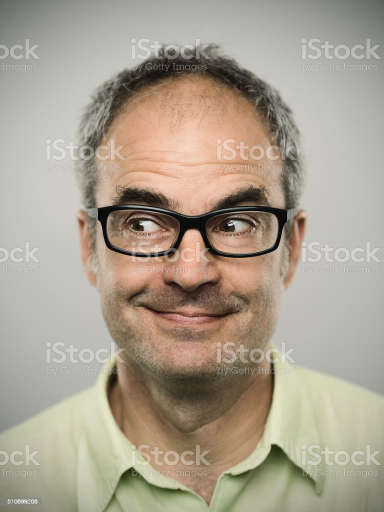 Portrait of a happy caucasian real man stock photo
