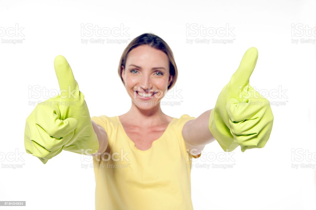 Portrait of a happy cleaing woman stock photo