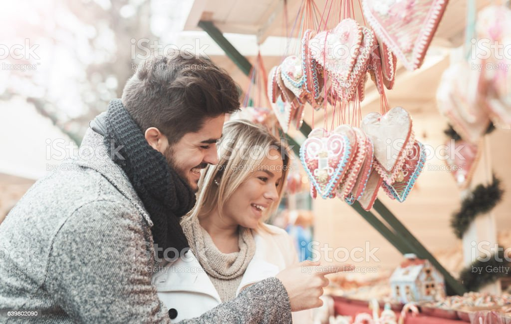 Portrait of a happy loving couple. Love, dating, romance, shoppi stock photo