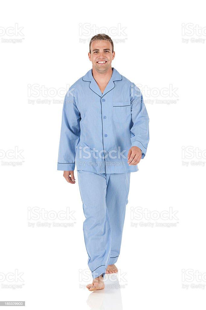 Portrait of a happy man walking stock photo