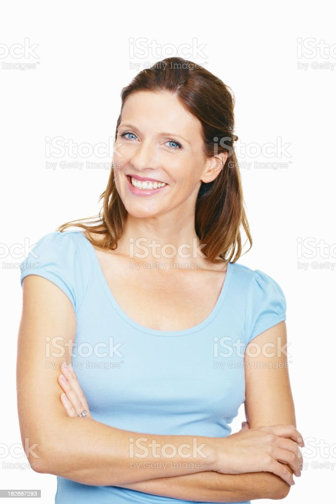 Portrait of a happy mid adult lady against white stock photo