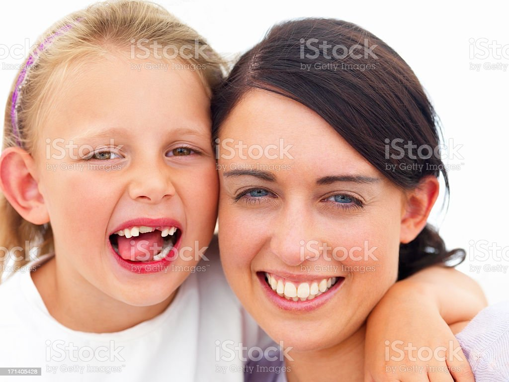 Portrait of a happy pretty mother with her daughter isolated on white background royalty-free stock photo