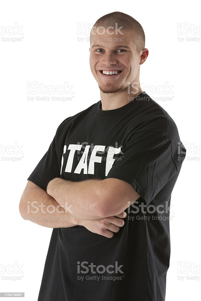 Portrait of a happy security guard with his arms crossed royalty-free stock photo