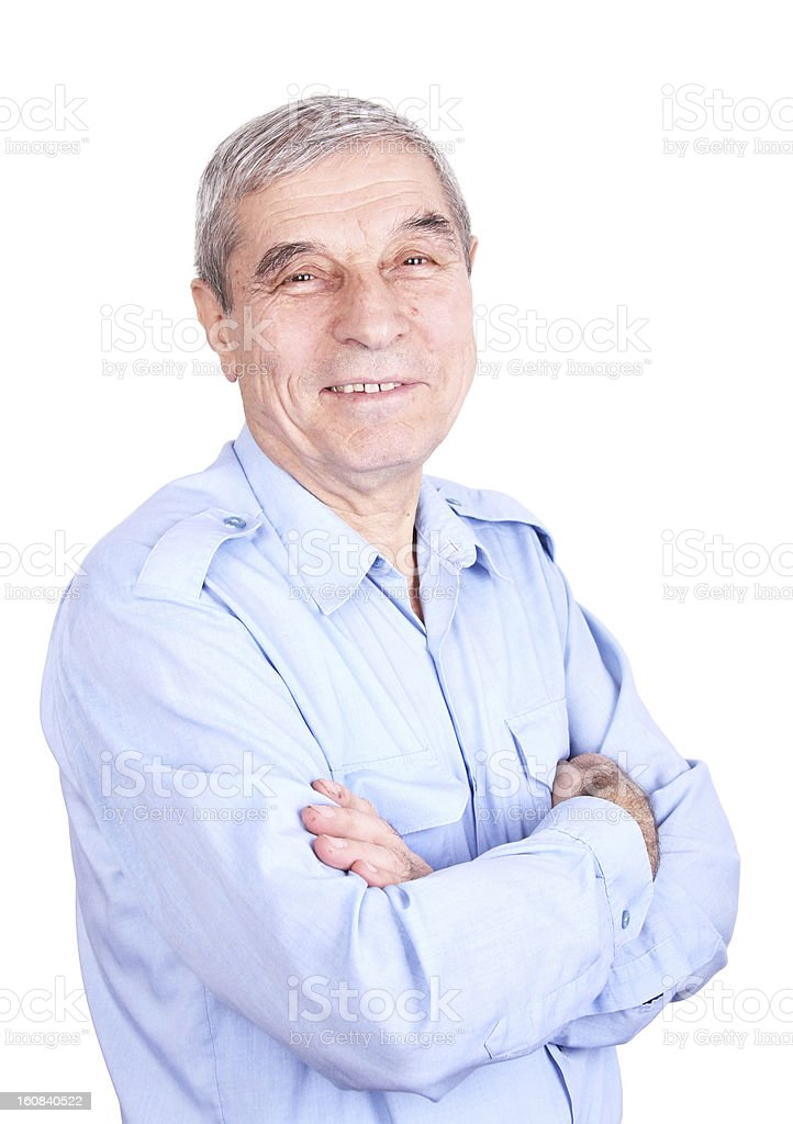 Portrait of a happy senior man isolated against white royalty-free stock photo