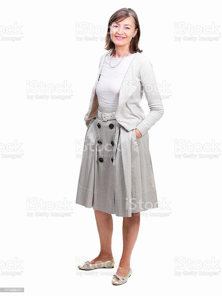 Portrait of a happy senior woman stock photo