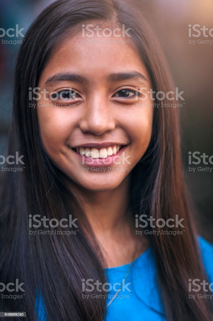 Portrait of a happy teenager stock photo