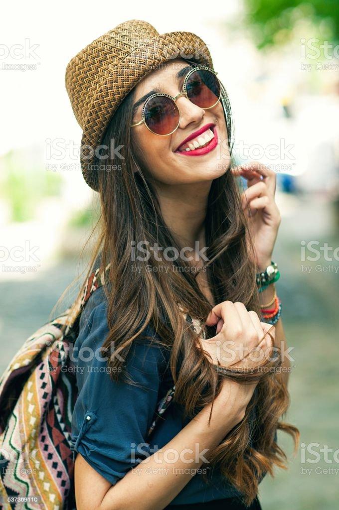 Portrait of a happy woman. stock photo