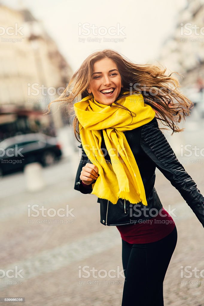 Portrait of a happy woman stock photo