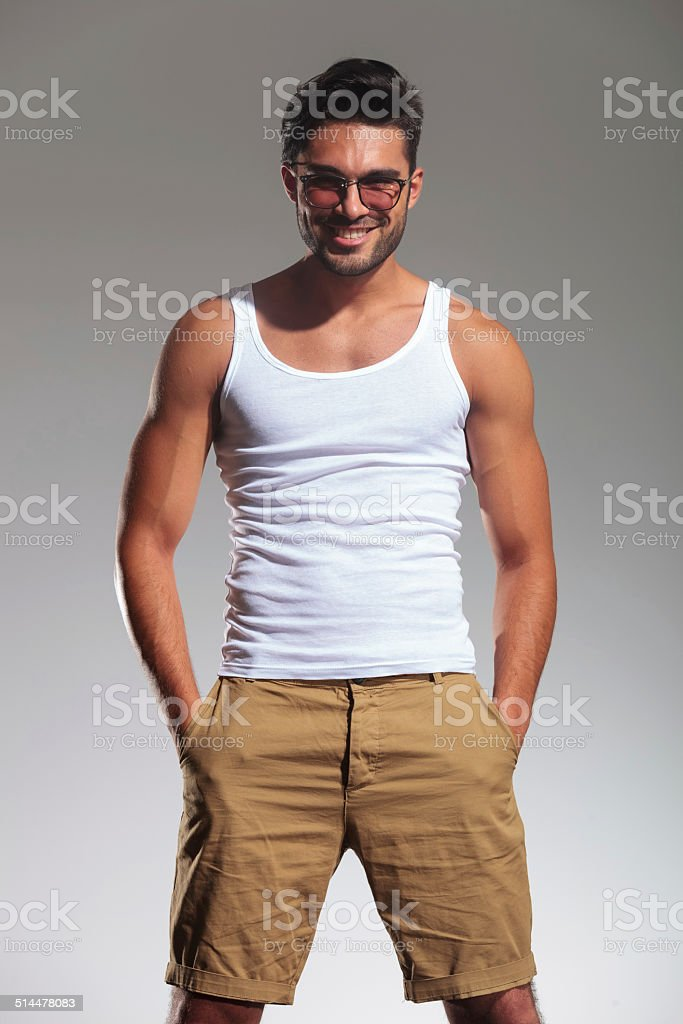 portrait of a happy young casual man stock photo