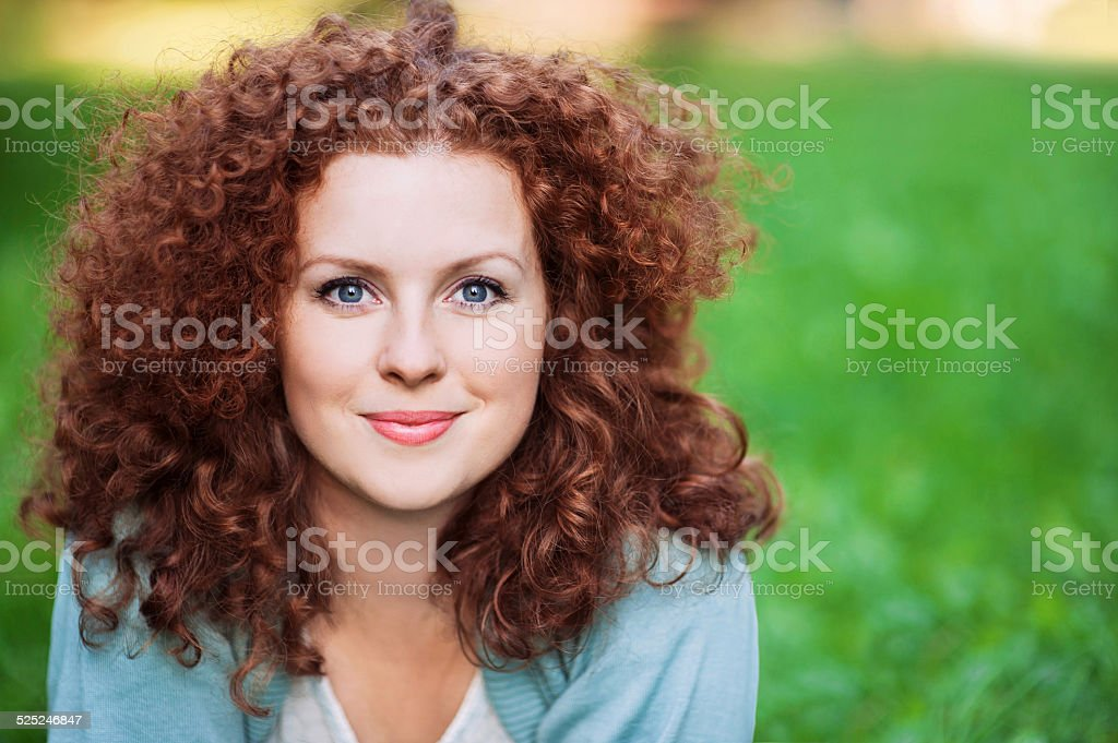 Portrait of a happy young woman stock photo
