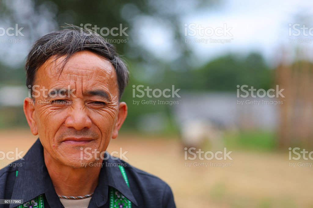 Portrait of a Hmong hill tribe elder stock photo