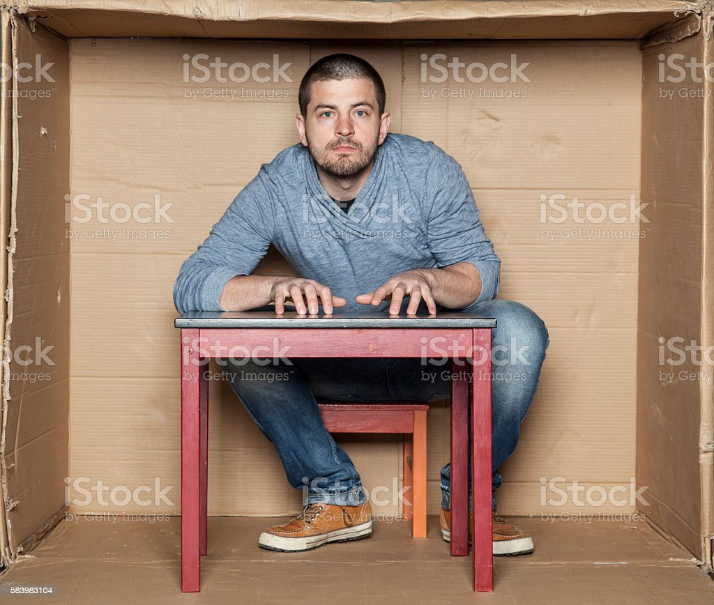 Portrait of a hyperactive man stock photo