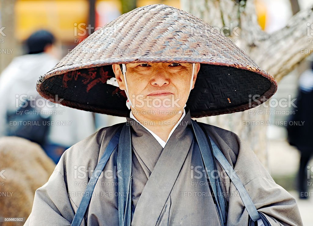 Portrait of a Japanese buddhist monk with traditional clothing stock photo