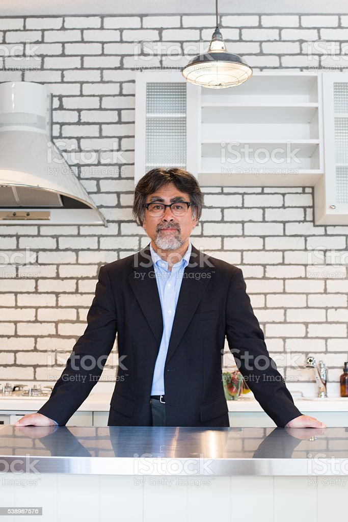 Portrait of a Japanese man at his home stock photo