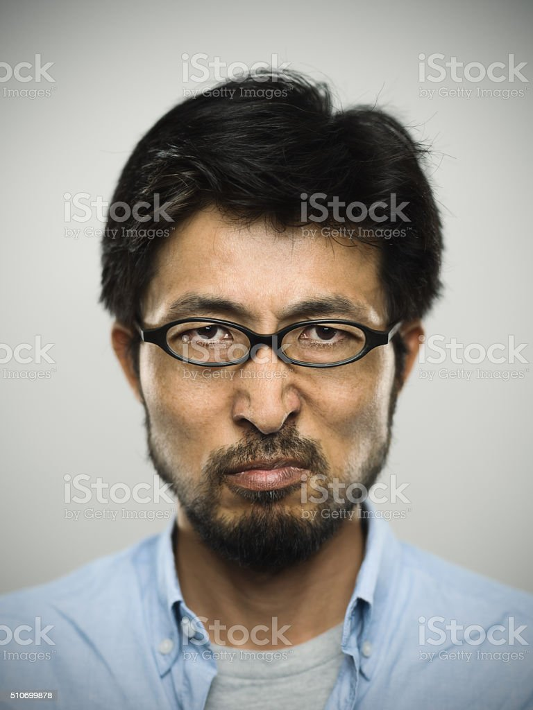 Portrait of a japanese man wearing glasses stock photo