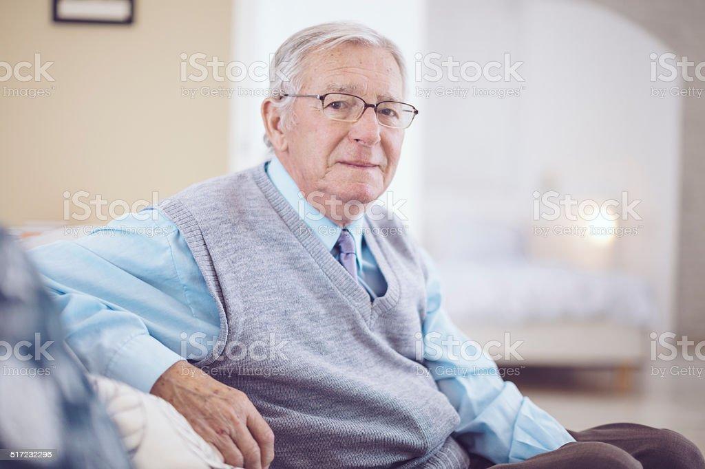 Portrait of a kind senior man stock photo