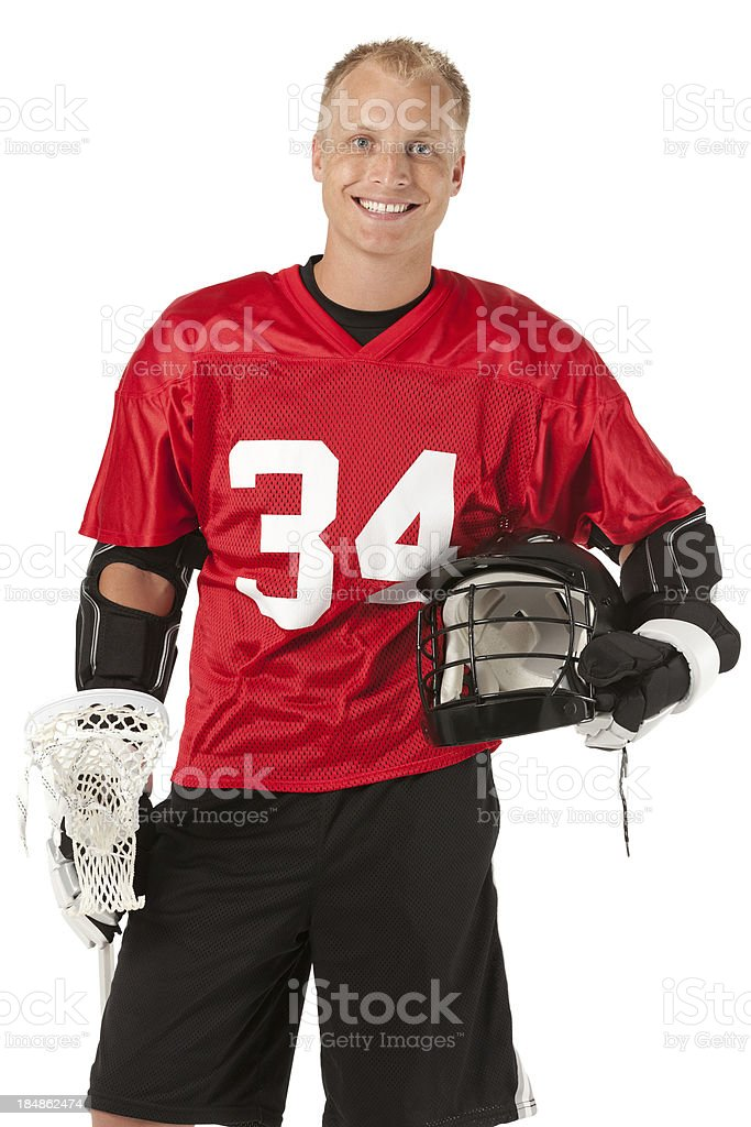 Portrait of a lacrosse player smiling stock photo