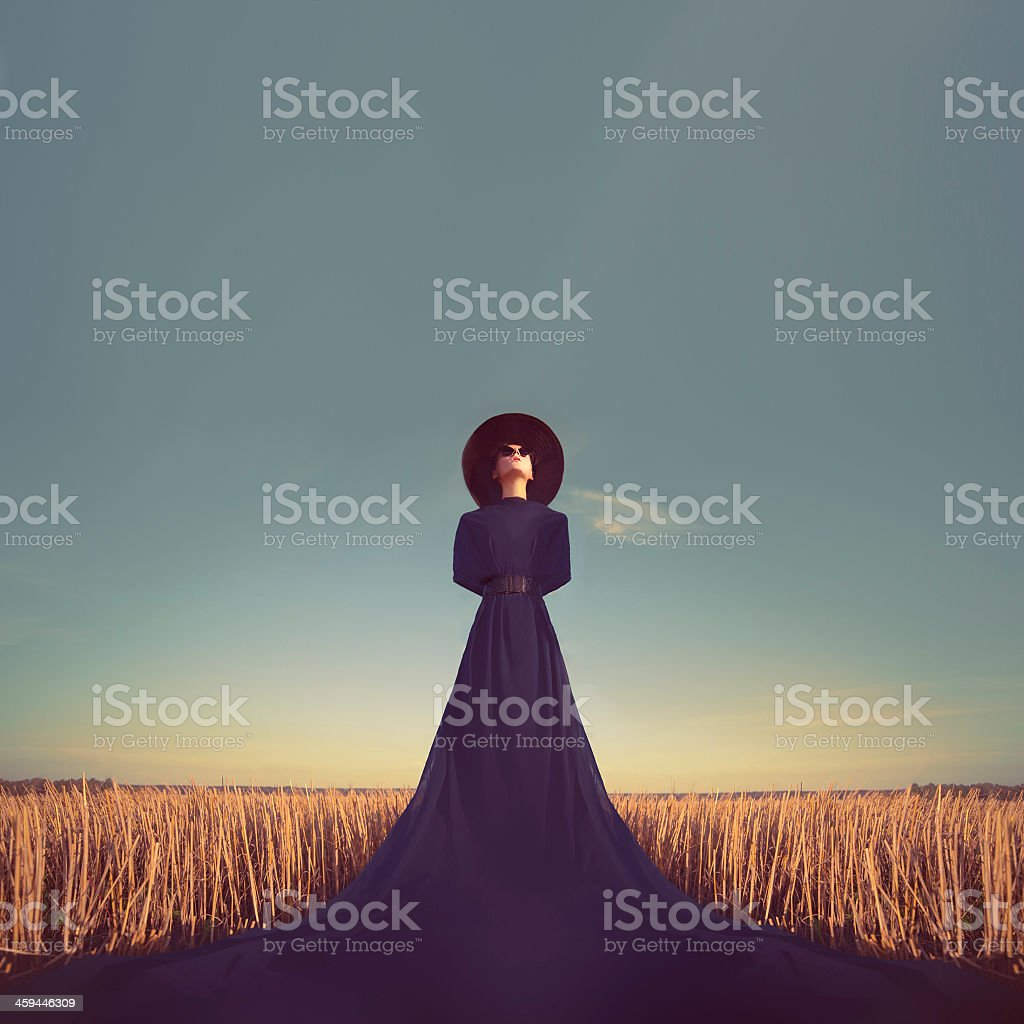 Portrait of a lady in a long purple dress and sun hat stock photo