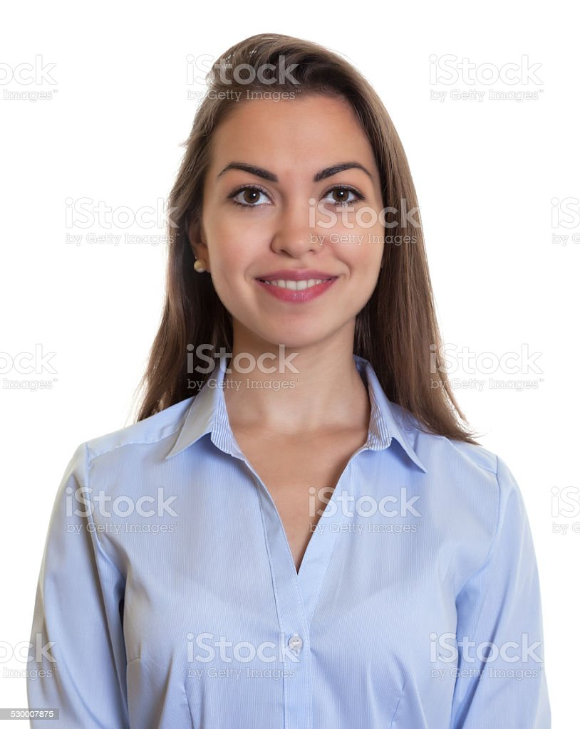 Portrait of a laughing businesswoman with long dark hair stock photo